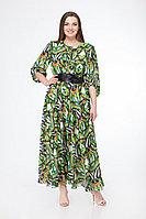 Женское осеннее шифоновое зеленое большого размера платье Gold Style 2201 зеленый 50р.