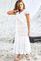 Женское летнее хлопковое белое нарядное платье Vittoria Queen 12563 46р.