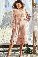 Женское летнее хлопковое розовое нарядное большого размера платье Vittoria Queen 12643 48р.
