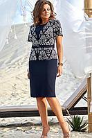 Женский осенний хлопковый синий нарядный большого размера комплект с платьем Vittoria Queen 12653 48р.