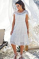 Женское летнее хлопковое белое нарядное большого размера платье Vittoria Queen 12703 50р.