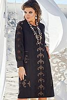 Женское летнее хлопковое черное нарядное большого размера платье Vittoria Queen 12753 46р.