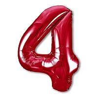 """Шар фольгированный 40"""" «Цифра 4», цвет красный, Slim"""