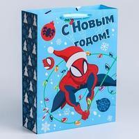 Пакет ламинат вертикальный 'С Новым годом!', 31х40х11 см, Человек-Паук