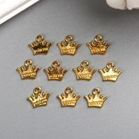 Подвеска 'Корона принцессы' 1х1,2 см цвет золото (комплект из 10 шт.)