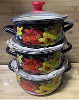 Набор эмалированных кастрюль 3 Шт, фото 1