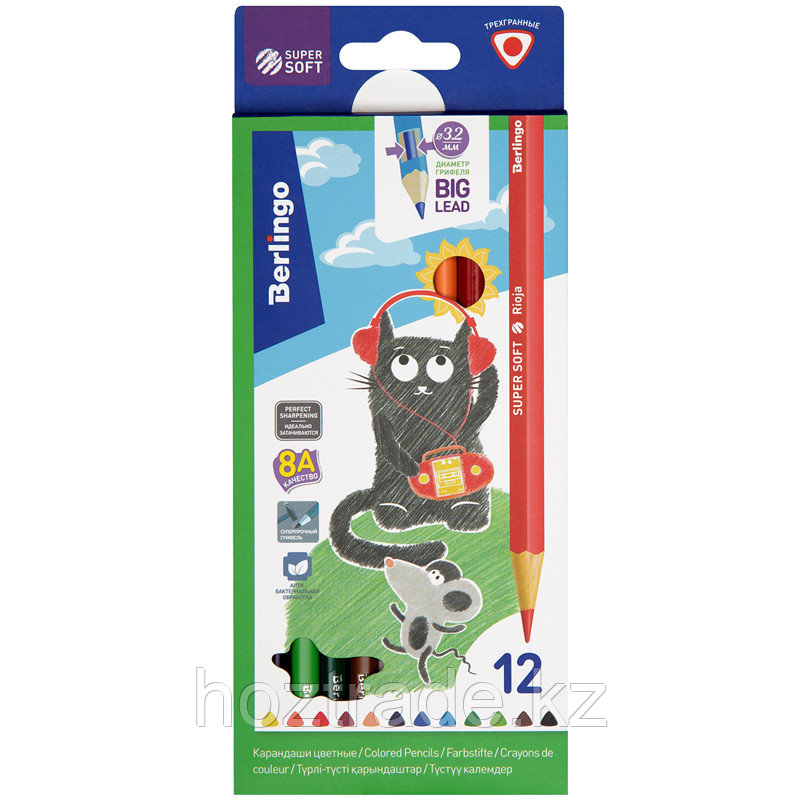 """Карандаши цветные Berlingo """"SuperSoft. Жил-был кот"""", 12цв., трехгран., заточен., картон, европодвес"""