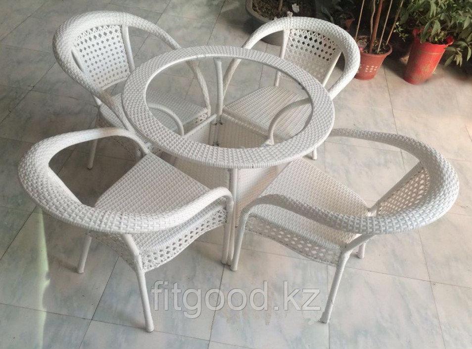 Стол + 4 кресла искусственный ротанг УЮ
