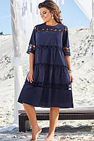 Женское летнее хлопковое синее нарядное большого размера платье Vittoria Queen 10023/1 48р.