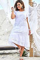 Женское летнее хлопковое белое нарядное большого размера платье Vittoria Queen 12613 52р.