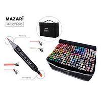 Маркеры для скетчинга двусторонние Mazari Fantasia, 240 цветов, (2 маркера-блендера)