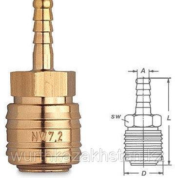 Пневмопереходник резьба - шланг  d 13мм