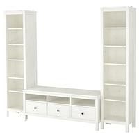 ХЕМНЭС Шкаф для ТВ, комбинация, белая морилка 245x197 см ИКЕА, IKEA