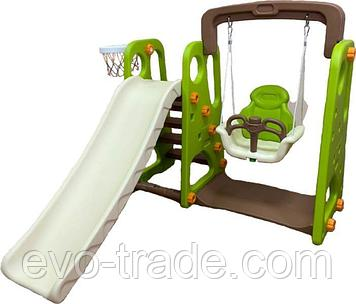 Детский игровой комплекс с качелями зеленый