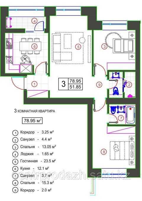 """3 комнатная квартира в ЖК """"Qazanat 2"""" (Казанат 2)  78.95 м²"""