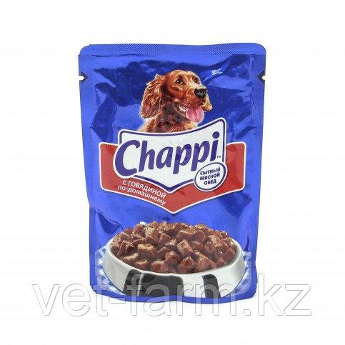 Корм для взрослых собак Chappi с говядиной по-домашнему, 100г.