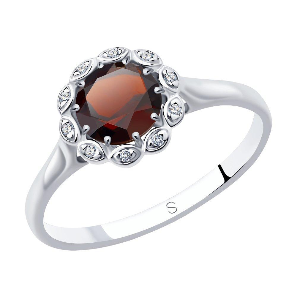 Кольцо из серебра с натуральным гранатом