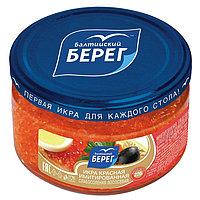 Икра аналоговая красная стекло Балтийский берег 0,220 кг синяя крышка