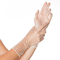 Перчатки одноразовые VINYL IDEAL LONG,100шт, длинный манжет