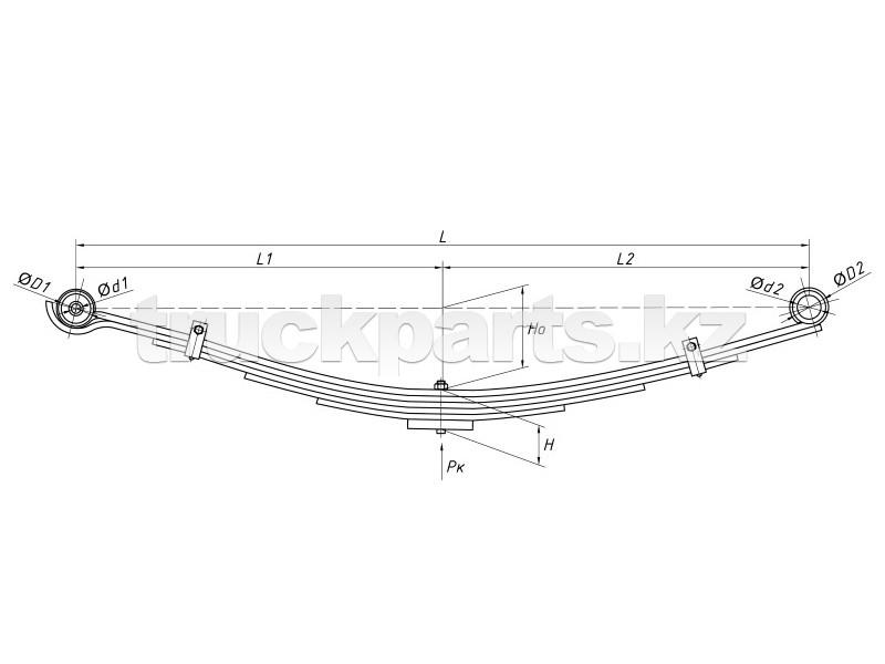 Рессора передняя в сборе ЧМЗ 6 листов HYUNDAI HD72,78 HYUNDAI 54110-5K500