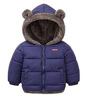 Куртка детская двусторонняя с ушками Синий, 100