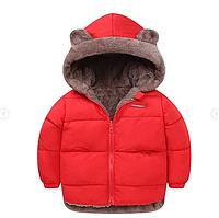 Куртка детская двусторонняя с ушками Красный, 90