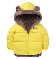 Куртка детская двусторонняя с ушками Желтый, 90