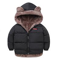 Куртка детская двусторонняя с ушками Чёрный, 120