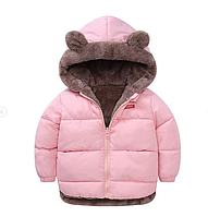 Куртка детская двусторонняя с ушками Розовый, 120