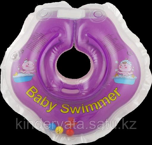 BABY SWIMMER Круг для купания ( 3-12кг) Фиолетовый Полуцвет+внутри погремушка