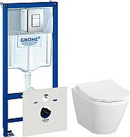 Комплект Система инсталляции для унитазов Grohe Rapid SL 38775001 4 в 1 с кнопкой смыва + Чаша для унитаза