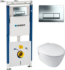 Комплект Система инсталляции для унитазов Geberit Duofix Платтенбау 458.125.21.1 4 в 1 с кнопкой смыва +