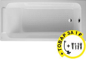 Чугунная ванна Jacob Delafon Parallel 150x70, без ручек + ножки и слив-перелив