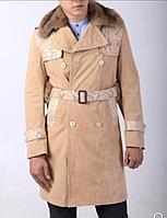 Мужское пальто с воротом из меха соболя и вставками из кожи питона