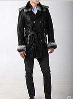 Мужское пальто с отделкой из меха шиншиллы