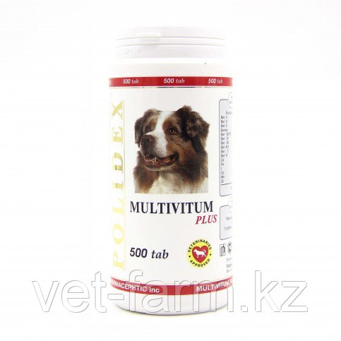 POLIDEX Multivitum Plus, Полидекс, Мультивитамины Для Собак, 500 Табл