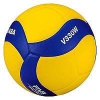 Мяч волейбольный Mikasa V330W NEW, желтый цвет, 5 размер