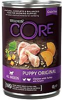 Влажный беззерновой корм для щенков всех пород Wellness Core 95 курица с индейкой и тыквой