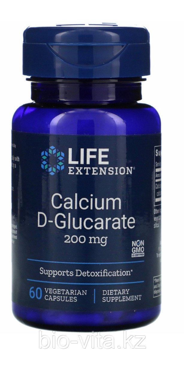 Кальция D-глюкарат, 200 мг, 60 капсул.  LIFE extension. Calcium D - Glucarate