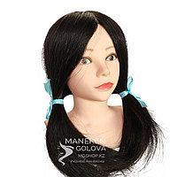 Мини Манекен-голова, 100% натуральный, детская для причесок, цвет черный, возраст 4+, Каспи Ред!!!