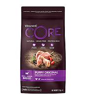 Сухой беззерновой корм для щенков мелких и средних пород Wellness Core Puppy с индейкой и курицей