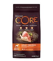 Сухой беззерновой корм для собак средних пород Wellness Core Adult Original с индейкой и курицей