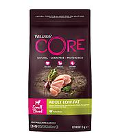 Сухой беззерновой корм для собак мелких пород Wellness Core Adult Low Fat Small Breed индейка с курицей