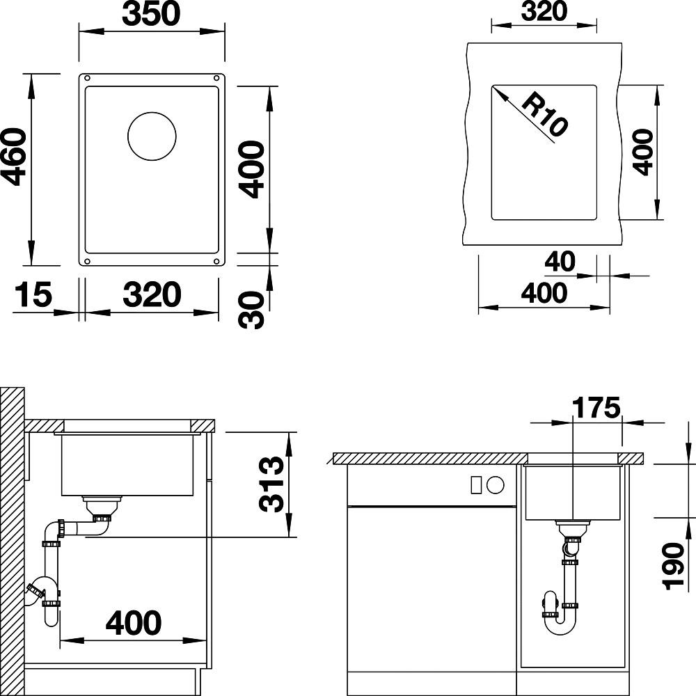 Мойка кухонная Blanco Subline 320-U темная скала