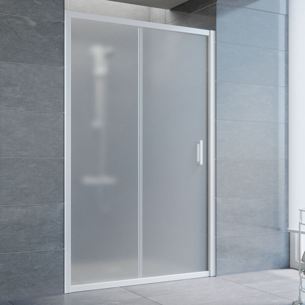 Душевая дверь в нишу Vegas Glass ZP 120 01 10 профиль белый, стекло сатин