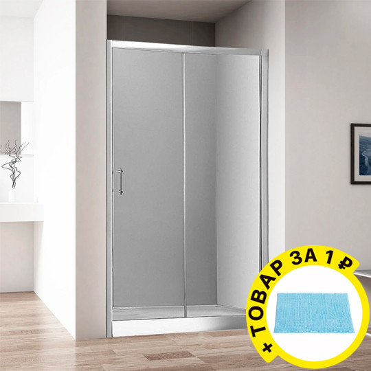 Душевая дверь в нишу Aquanet Alfa NAA6121 1200х2000 стекло прозрачное, профиль хром + коврик