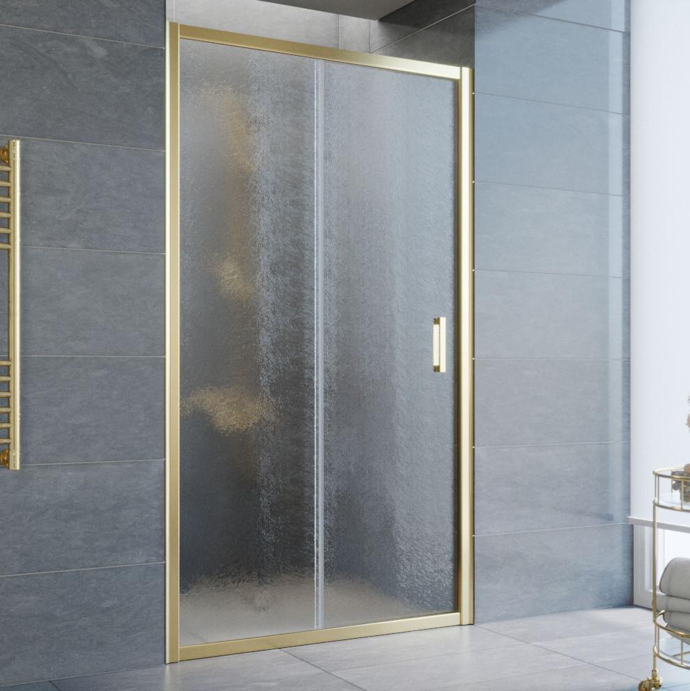 Душевая дверь в нишу Vegas Glass ZP 100 09 02 профиль золото, стекло шиншилла