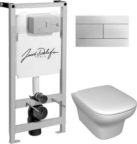 Комплект Система инсталляции для унитазов Jacob Delafon E5504-NF + Чаша для унитаза подвесного Jacob Delafon