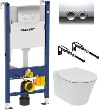 Комплект Система инсталляции для унитазов Geberit Duofix Delta 458.124.21.1 3 в 1 с кнопкой смыва + Унитаз