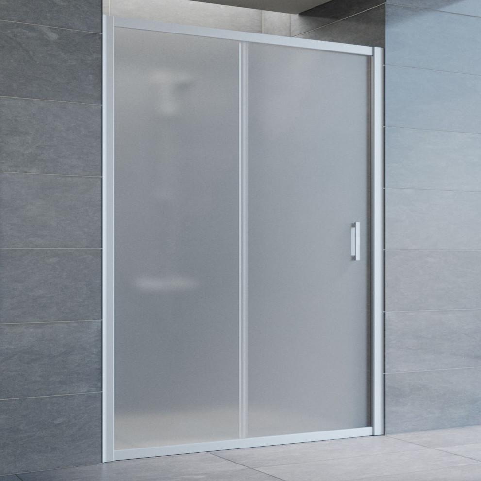 Душевая дверь в нишу Vegas Glass ZP 140 07 10 профиль матовый хром, стекло сатин
